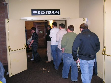 It was a long line for the restrooms