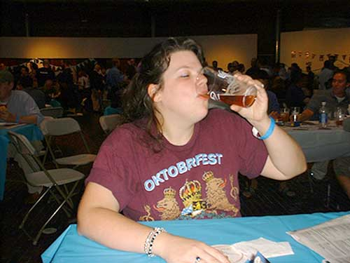 Danielle enjoying a beer