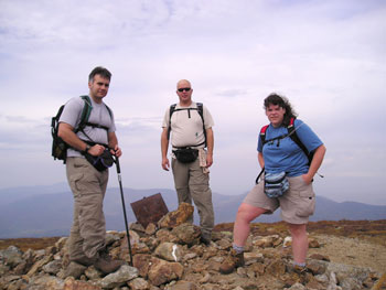 Tim, Fuzz and Danielle on Mt. Eisenhower