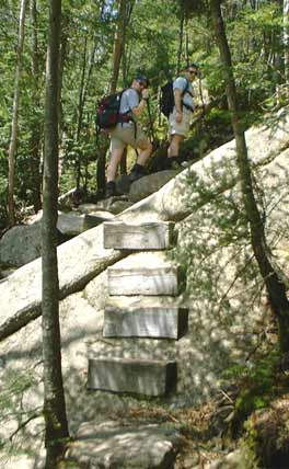 Steps on rock ledge